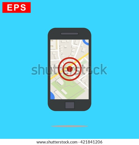 mobile navigation icon, vector tracking icon, isolated gps icon - stock vector