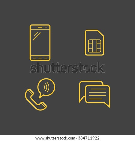 Mobile network operator linear icons. Vector icons - stock vector