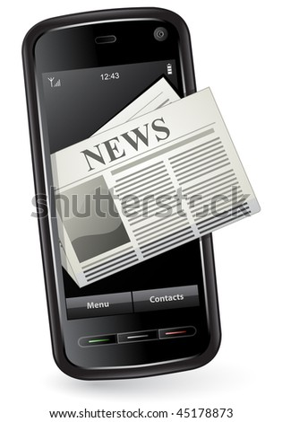 Mobile news concept. Smartphone and newspaper. - stock vector