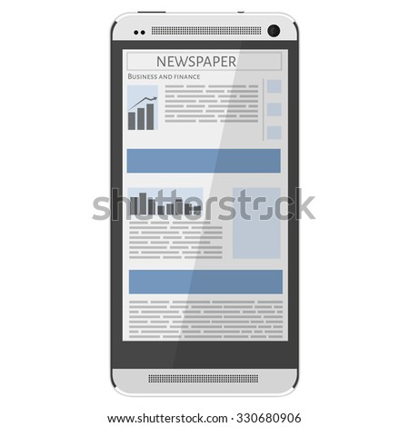 Mobile news concept. Smartphone and newspaper. Reading online news on smartphone concept. Flat design. - stock vector