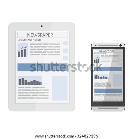 Mobile news concept. Smartphone, tablet and newspaper. Reading online news on smartphone or tablet concept. Flat design. - stock vector