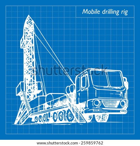 Mobile oil drilling complex. EPS10 vector illustration imitating blueprint style scribbling with white marker. - stock vector