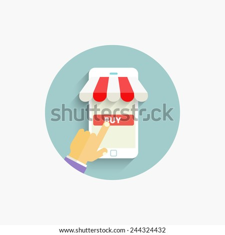 Mobile Online shopping and e-commerce concept. Flat design. Vector Illustration. - stock vector