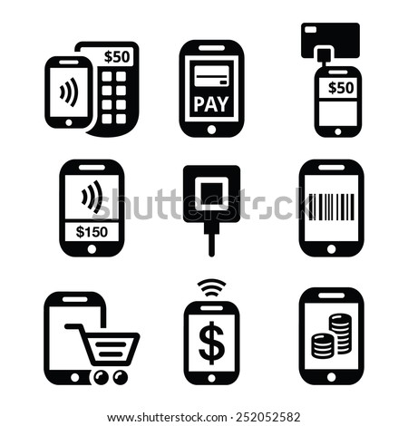 Mobile or cell phone payments, paying online with smartphone icons    - stock vector