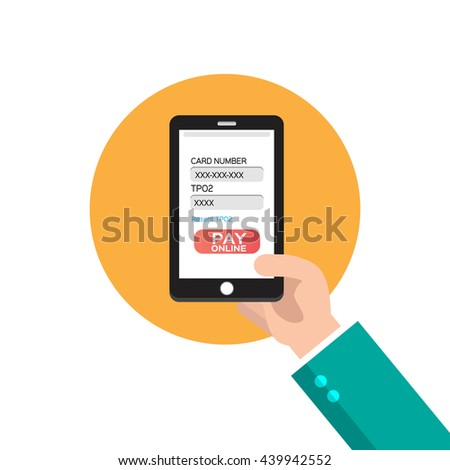 Mobile pay online concept on smartphone screen
