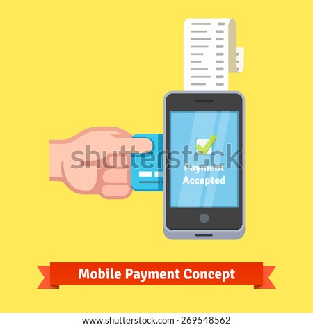 Mobile payment concept. Man hand inserting credit card to a phone printing paper receipt. Flat style vector illustration. - stock vector