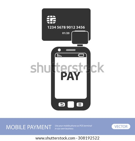 Mobile payment. Credit card reader on smart phone scanning a credit card - stock vector