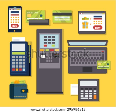 Mobile payment icon set. Wireless paying with POS and smartphone. Human hands holding credit cards. Flat style vector. - stock vector