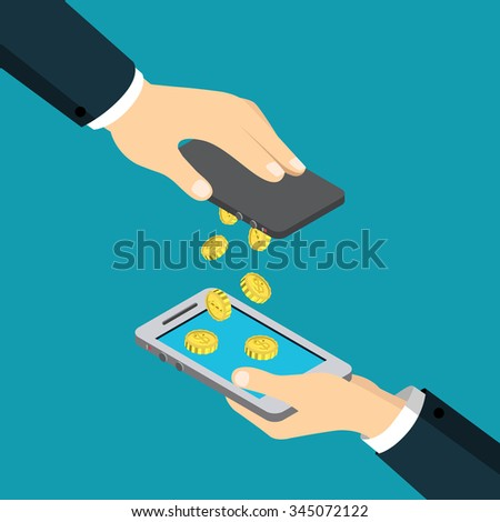 Mobile payment money transfer flat 3d isometry isometric financial transaction concept web vector illustration. Coin drop raining from one smart phone to another. Creative people collection. - stock vector