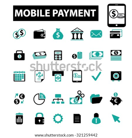 mobile payment, online money icons