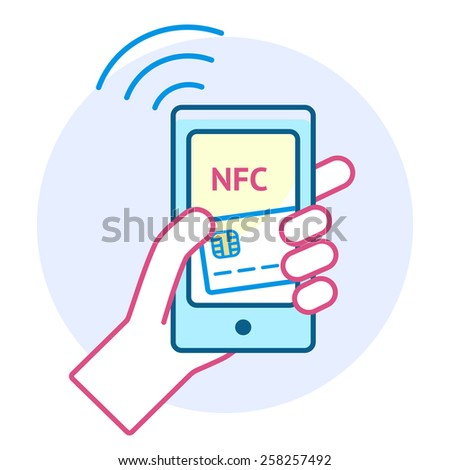 Mobile payment processing concept. Hand holding modern smartphone with credit card and NFC on its screen and radio wave outside. Near field communication technology. Vector line illustration - stock vector