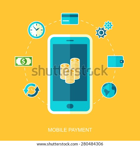 Mobile payments. Transaction and paypass. Vector illustration. - stock vector