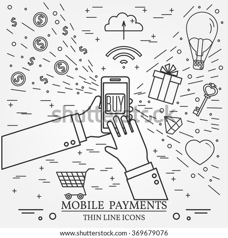 Mobile payments using a smartphone. 	Online shopping concept for web design and application interface. Thin line icon. - stock vector