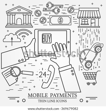 Mobile payments using a tablet computer, tablet pc,  computer. Online shopping concept for web design and application interface. Thin line icon. - stock vector
