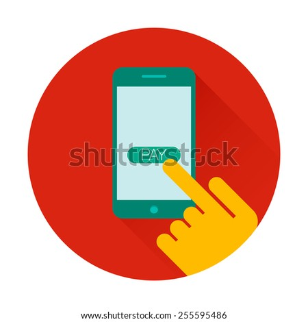 Mobile payments using smartphone, near field communication technology, online banking. NFC technology. Flat design vector - stock vector