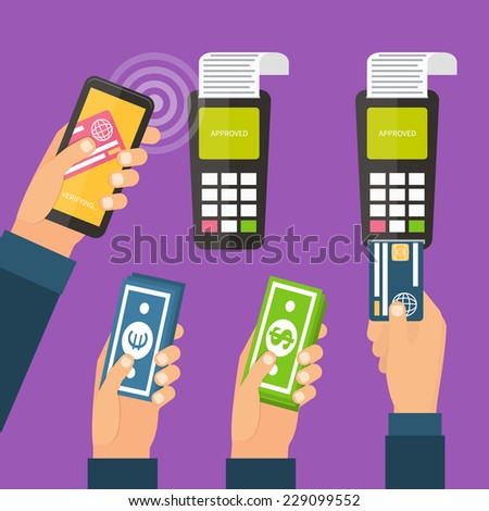 Mobile payments using smartphone, terminal and credit card, cash and near field communication technology, online banking. Payments methods. Flat design vector. - stock vector