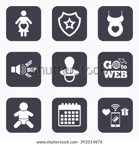 Mobile payments, wifi and calendar icons. Maternity icons. Baby infant, pregnancy and dummy signs. Child pacifier symbols. Shirt with heart. Go to web symbol. - stock vector