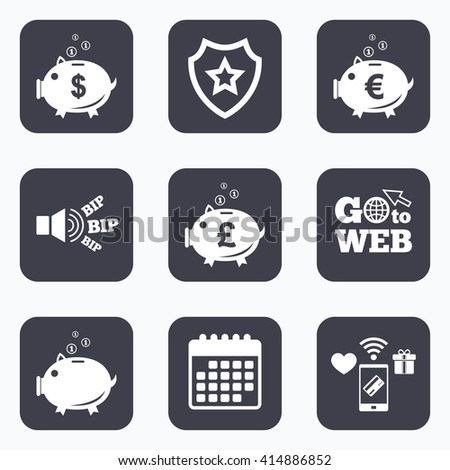 Mobile payments, wifi and calendar icons. Piggy bank icons. Dollar, Euro and Pound moneybox signs. Cash coin money symbols. Go to web symbol. - stock vector