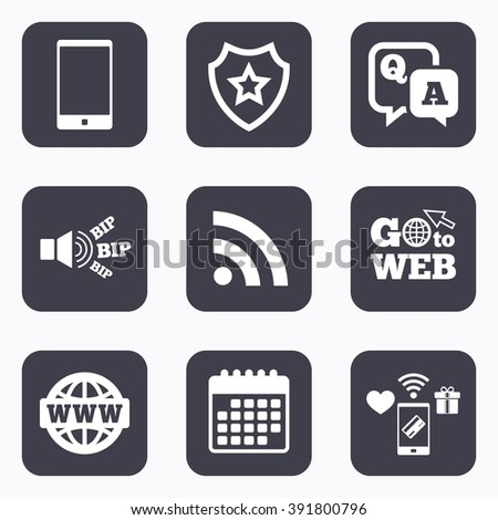 Mobile payments, wifi and calendar icons. Question answer icon.  Smartphone and Q&A chat speech bubble symbols. RSS feed and internet globe signs. Communication Go to web symbol. - stock vector