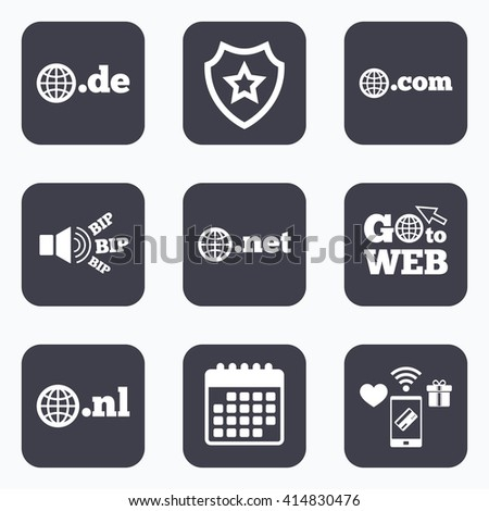 Mobile payments, wifi and calendar icons. Top-level internet domain icons. De, Com, Net and Nl symbols with globe. Unique national DNS names. Go to web symbol. - stock vector
