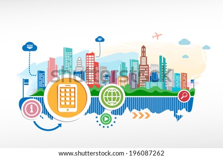 Mobile phone and cityscape background with different icon and elements.  - stock vector