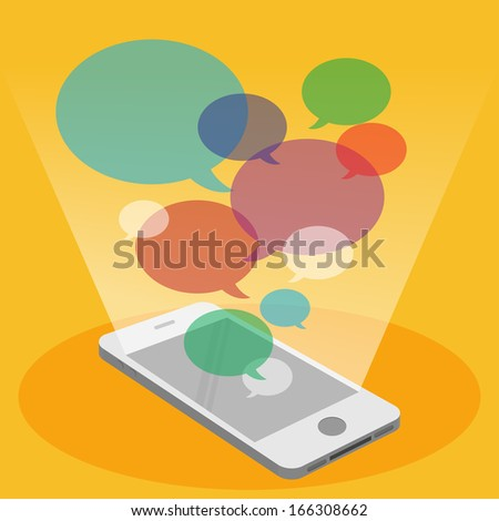 Mobile phone and colorful bubble speech - stock vector