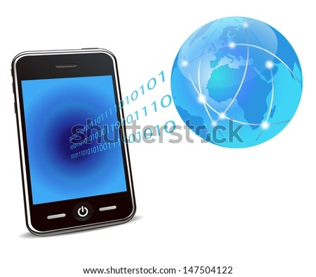 mobile phone and global network  - stock vector