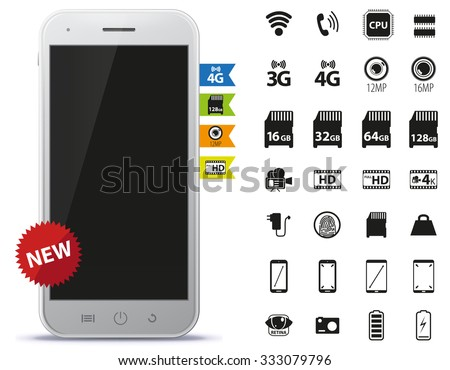 Mobile Phone and Icons Set - stock vector