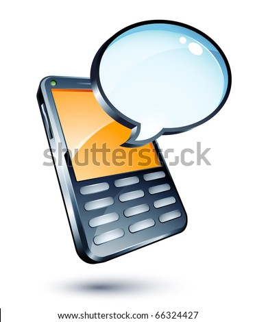 mobile phone and speech bubble - stock vector