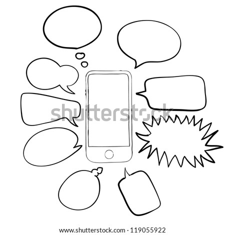 mobile phone and talk bubble abstract sketch vector - stock vector