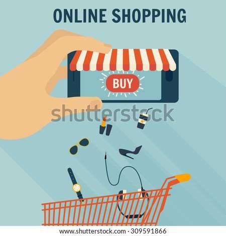 Mobile phone as online store. Online shopping vector illustration - stock vector