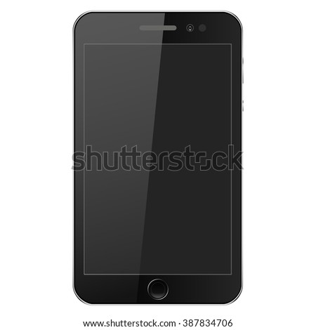 Mobile phone black with buttons on a gray background. Mobile Vector.