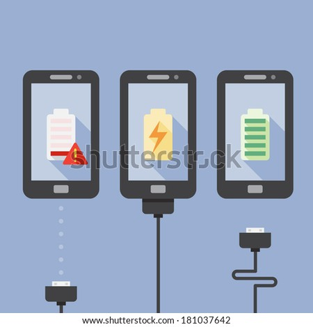 Mobile Phone Charging with icons - stock vector