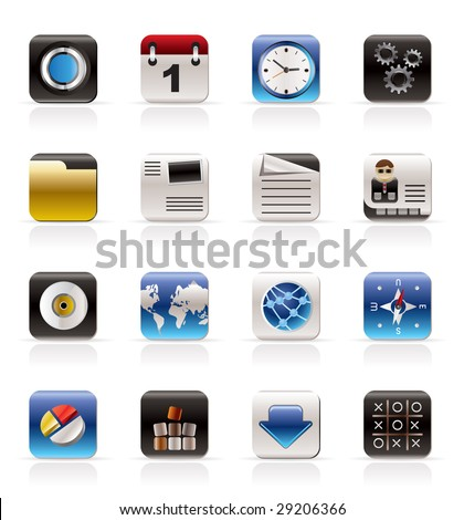 Mobile Phone, Computer and Internet Icons - Vector Icon Set - stock vector