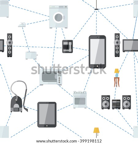 Mobile phone connected with house appliances, internet of things flat seamless pattern on white