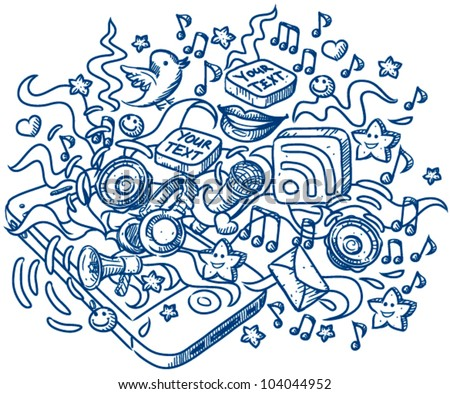 Mobile phone exploding with many details(lips,rss,icons,speakers,sheets,microphone,headphones) - sketch style vector illustration for your business presentations - stock vector