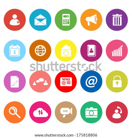Mobile phone flat icons on white background, stock vector - stock vector