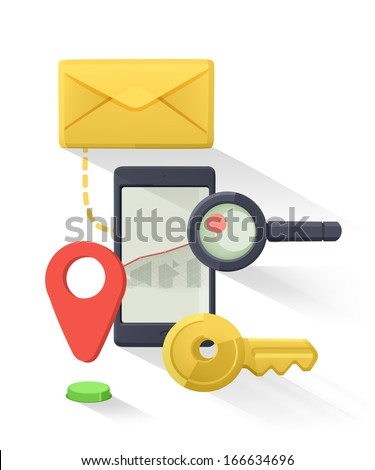 Mobile phone flat vector icon - stock vector