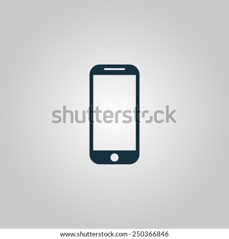 Mobile phone. Flat web icon, sign or button isolated on grey background. Collection modern trend concept design style vector illustration symbol - stock vector
