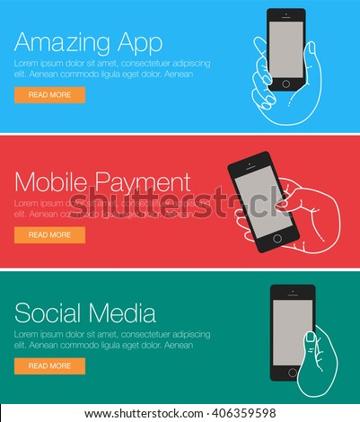 mobile phone for header or footer banner layout template of banner of mobile app