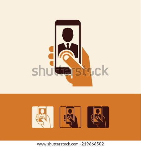 mobile phone hand - stock vector