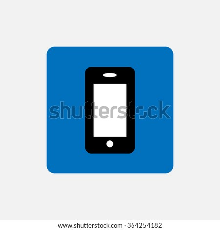 Mobile phone icon on a blue background , interface , program content - stock vector