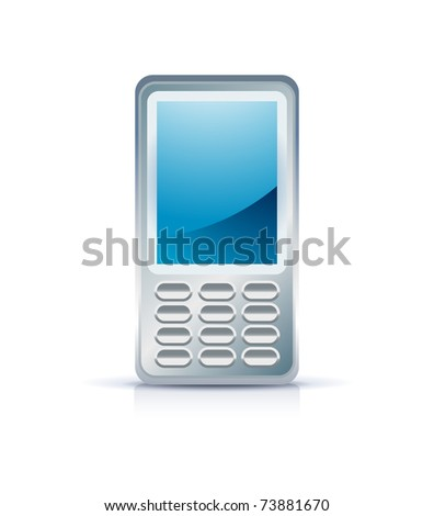mobile phone icon on white - stock vector