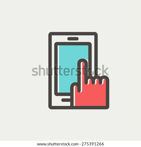 Mobile phone icon thin line for web and mobile, modern minimalistic flat design. Vector icon with dark grey outline and offset colour on light grey background. - stock vector
