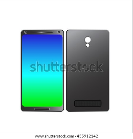 mobile phone icon with a blue background on both sides of the white, vector illustration