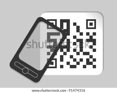 mobile phone icon with bar code - stock vector