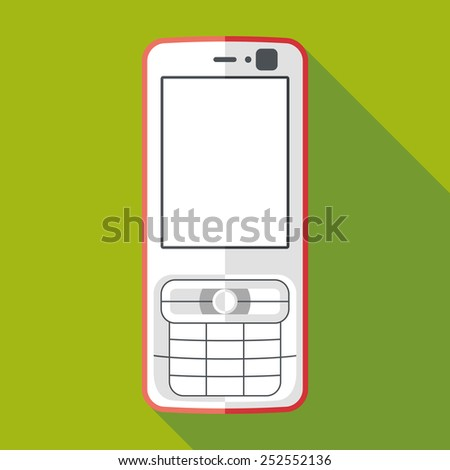 mobile phone icon with long shadow. flat style vector illustration - stock vector