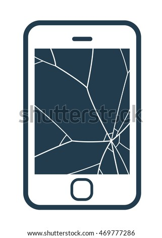 Mobile phone icon with smashed screen showing shattered glass on a blank screen, simple vector illustration