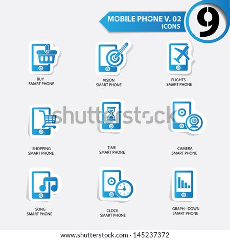 Mobile phone icons,Blue version,vector - stock vector