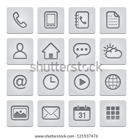 Mobile Phone Icons : deboss Style - stock vector